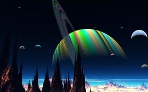 Картинка небо, скалы, вселенная, планета, спутник, кольца