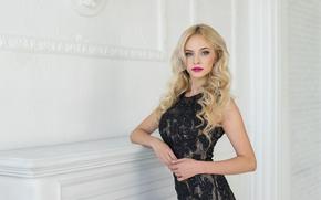 Картинка взгляд, лицо, фон, модель, макияж, платье, Ekaterina