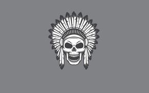 Картинка череп, минимализм, голова, перья, скелет, skull, индеец