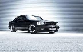 Обои mercedes, benz, с126, coupe, black