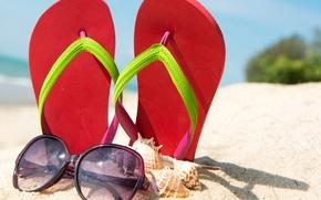 Картинка песок, пляж, лето, ракушки, summer, beach, sand, сланцы, vacation, accessories, seashells