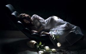Обои девушка, цветы, тень