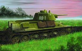 Обои Советский, ww2., средний, 1943г, Т-34-76, танк, тридцатьчетверка, образца