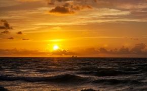 Картинка море, небо, солнце, облака, рассвет, утро, горизонт