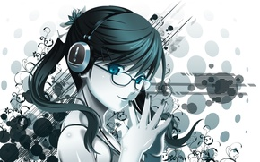 Обои девушка, абстракция, наушники, арт, очки, koutaro
