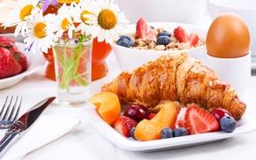 Картинка цветы, еда, завтрак, фрукты