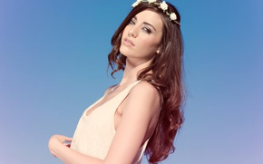Картинка глаза, девушка, волосы, красота, губы, рубашка, сексуальность, голубое небо, корона из цветов