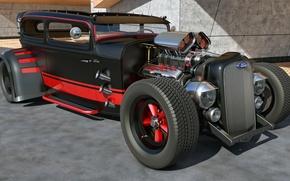 Картинка машина, дизайн, тюнинг, ford, hot rod, custom, rendering, samcurry