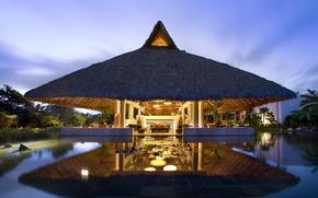 Картинка вода, свет, деревья, дизайн, огни, стиль, отражение, пальмы, интерьер, Мексика, навес, отель, экстерьер, лобби-бар, México