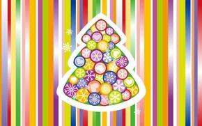 Обои Новый Год, праздник, фон, игрушки, полосы, цветной, елочка, снежинки, New Year, Holiday