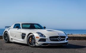 Картинка белый, Mercedes-Benz, суперкар, supercar, 2014 Mercedes-Benz SLS AMG Black Series