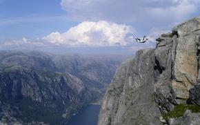 Обои jumping, base, горы, скалы, авиация, прыжок