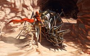 Картинка песок, девушка, монстр, существо, арт, муравей, шипы, маг, пещера, багаж