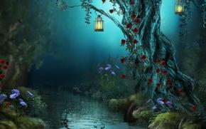 Обои лес, цветы, ночь, природа, река, ручей, лампы, розы, фонари, Fantasy, forest, river, nature, night, flowers, ...