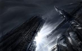 Картинка рисунок, небоскреб, кран, разрушение