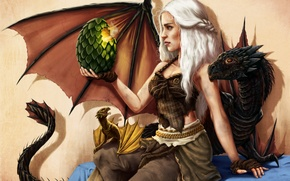 Картинка девушка, яйцо, драконы, арт, Game of Thrones, Daenerys Targaryen