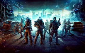 Картинка машины, город, оружие, капюшон, солдаты, шлем, руины, Future Soldier, Ghost Recon, светы