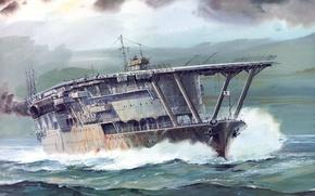 Картинка море, волны, рисунок, арт, авианосец, WW2, ВМФ Японии, IJF, Акаги, Akagi