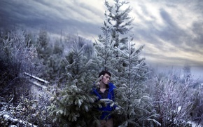 Картинка sky, trees, art, snow, cold, portrait, self