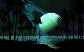 Обои кольца, море, деревья, берег, планета, звезды