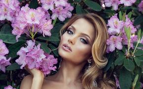 Картинка девушка, цветы, модель, блондинка, girl, flowers, model, blonde