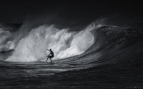 Картинка спорт, серфинг, черно-белое, surfing