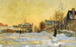 Картинка картина, городской пейзаж, Клод Моне, Снежный Эффект. Улица в Аржантёе