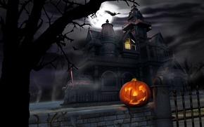 Обои тыква, Хеллоуин, замок