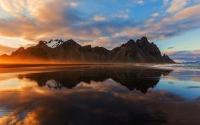 Обои море, пляж, свет, горы, Исландия
