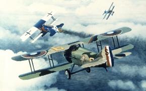 """Картинка небо, рисунок, Франция, арт, самолёты, немецкий, воздушный бой, WW2, одноместные, Западный фронт, """"Спад-Vll"""", 22 октября …"""