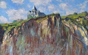 Обои скала, картина, Церковь в Варанжвиле, Клод Моне, пейзаж
