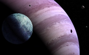 Картинка космос, звезды, луна, планеты, спутники, steve burg
