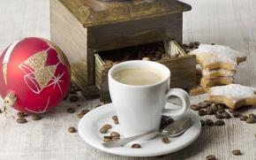 Картинка шар, кофе, зерна, Новый Год, печенье, ложка, чашка, капучино, кофемолка