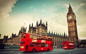 Картинка Англия, Лондон, London, England, Big Ben, Westminster Abbey, red bus