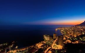 Обои франция, горы, дома, берег, монако, побережье, море, огни, вода, ночь, океан, города, фото городов с ...