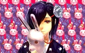 Картинка девушка, Кролик, маска, Art, Токийский гуль, Tokyo ghoul, Kirishima Toka