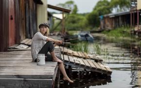Картинка отражение, Maxim Guselnikov, рубашка, прелесть, Алиса Тарасенко, daylight, девушка, young, модель, штаны, портрет, шляпа, блониднка, ...