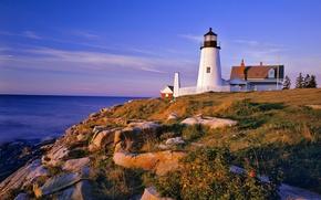 Обои маяк, море, холм, камни