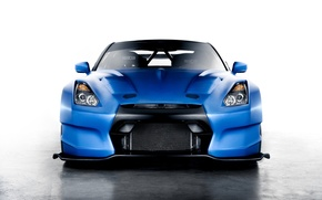 Картинка синий, Nissan, GT-R, ниссан, blue, front, race car, обвес, Ben Sopra