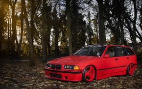 Картинка BMW, red, front, wagon, E36