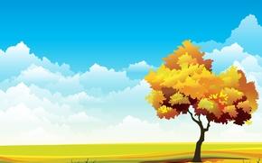 Картинка небо, трава, дерево