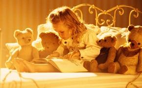 Картинка игрушки, медведи, девочка, книга