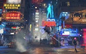 Картинка ночь, огни, улица, вывеска, Hong Kong, район, дрон