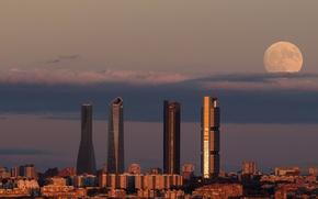 Картинка moon, twilight, sunset, dusk, Spain, buildings, Madrid, downtown, skyscrapers, cityscape, Torre Espacio, Torre de Cristal, …