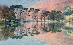 Картинка деревья, горы, озеро, отражение
