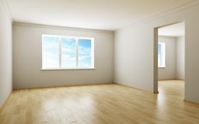 Картинка небо, дизайн, стиль, комната, интерьер, окно, квартира, коричневый, пустая