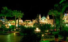 Картинка зелень, цветы, ночь, дизайн, огни, пальмы, газон, елка, дорожки, сад, фонари, фонтан, кусты, дворец, Монако, …