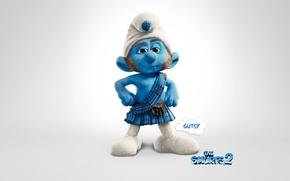 Картинка animation, background, cartoon, movie, the smurfs 2, scotsman smurf, gutsy