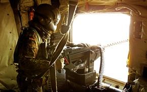 Картинка оружие, солдат, вертолет, пулемёт, бундесвер