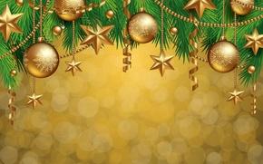 Обои merry, christmas, decoration, balls, golden, рождество